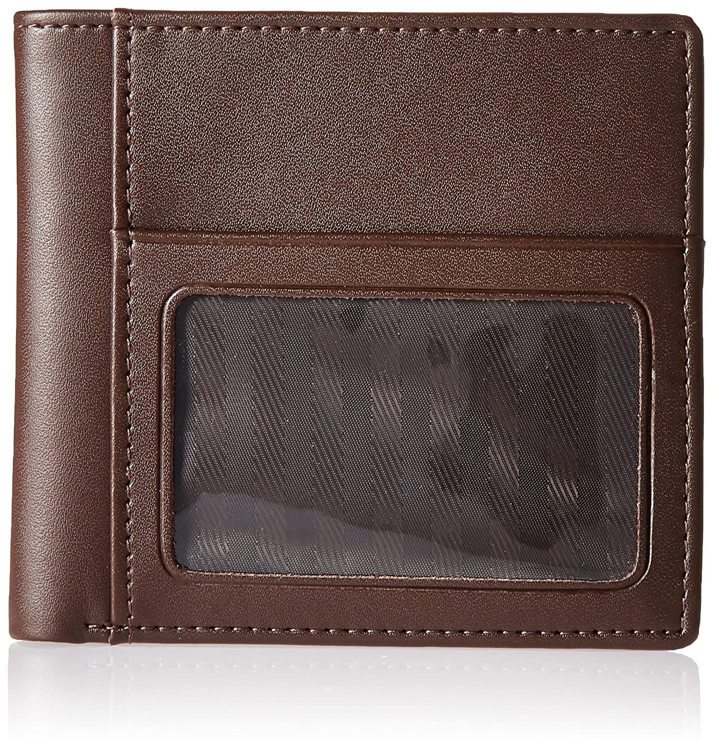 Brown Royce Leather Mens Double Id Wallet in Leather