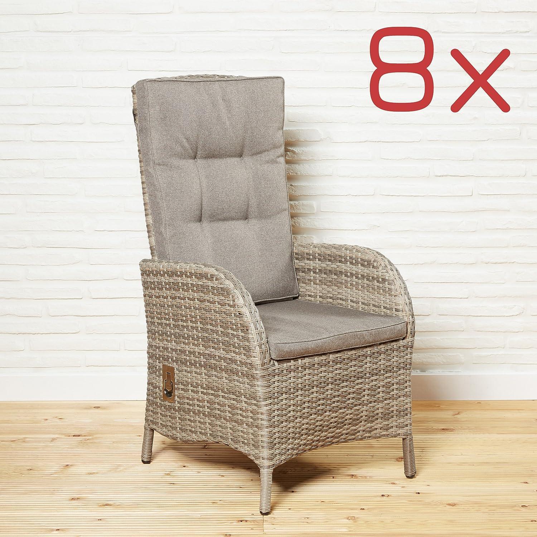 Gartenstühle Stuhl Polyrattan Stühle Gartensessel 8 Stück Gartenmöbel Set braun