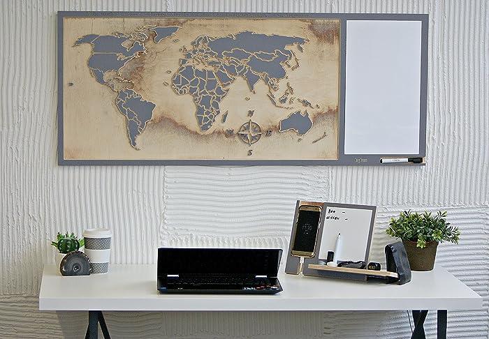 Carte du monde en bois cadeau pour voyageur cadeau enterprise