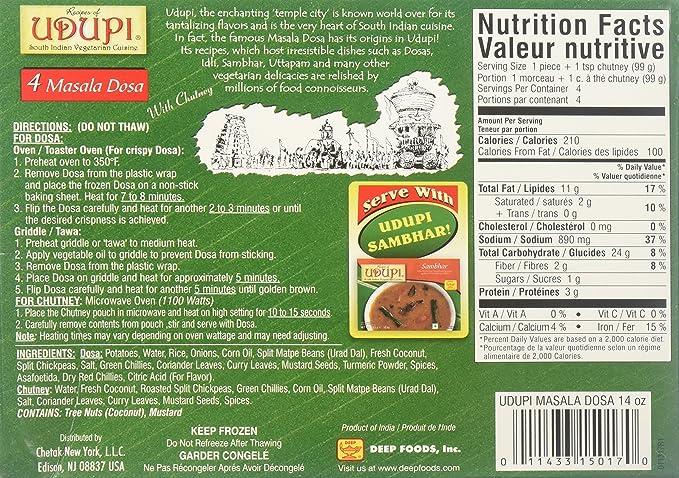 Amazon Com Udupi Masala Dosa 4 Pieces 397 Grams Gm Grocery Gourmet Food