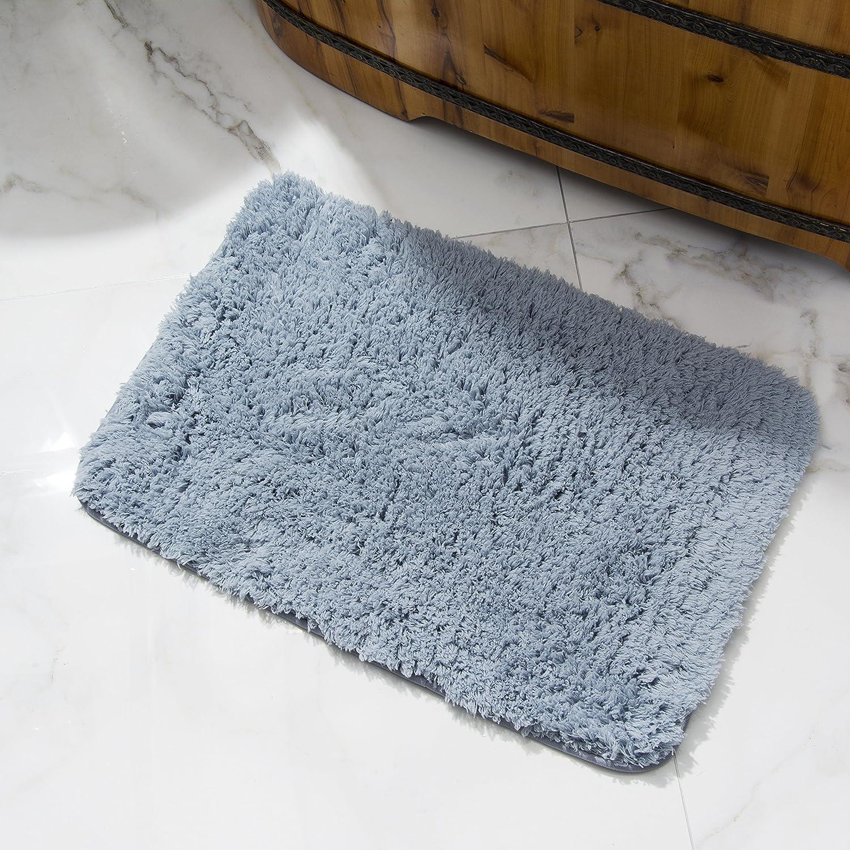 Soft Microfiber Non-Slip Antibacterial Rubber Luxury Bath Mat Rug 24 Length x 16 Width, Blue