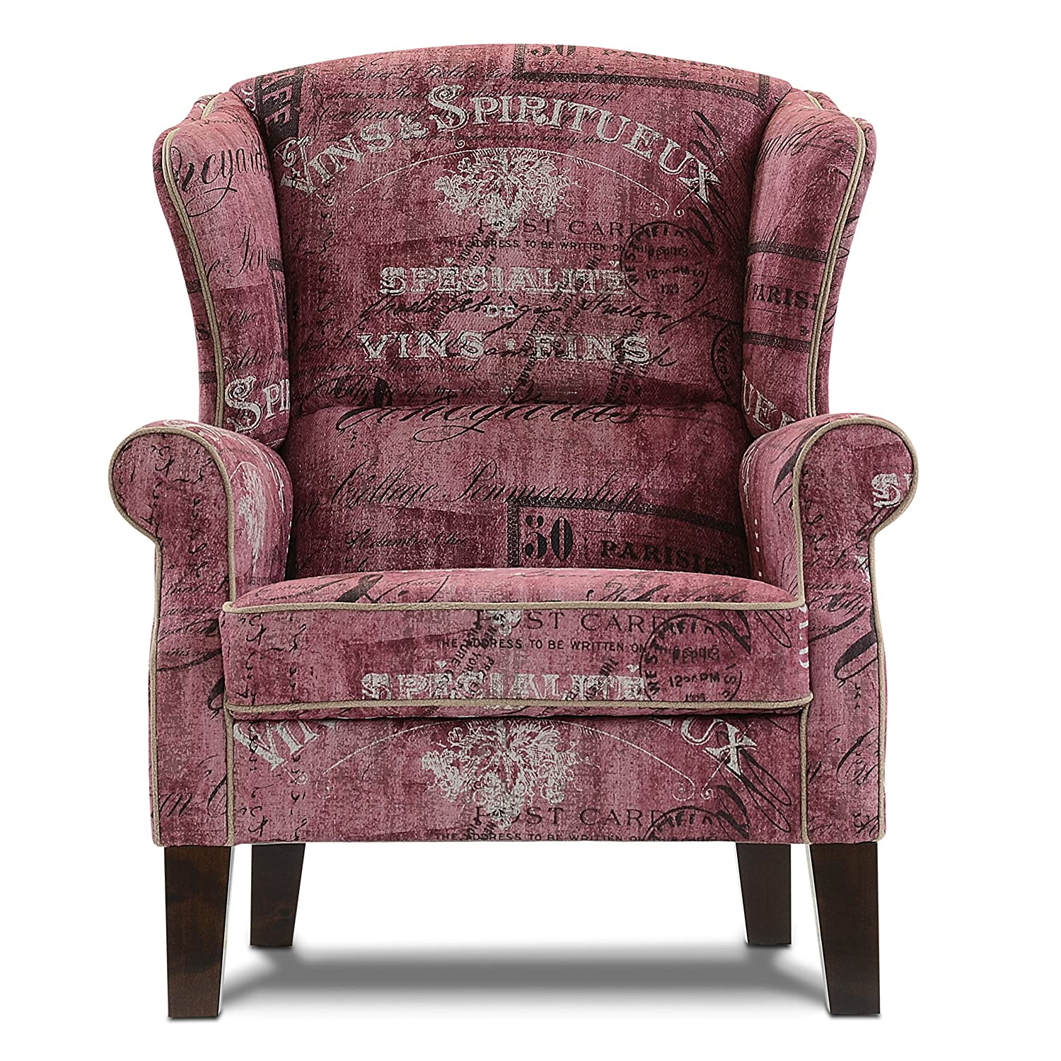 seadero sessel lorenzo ohrensessel relaxsessel flachgewebe im vintage look vino red. Black Bedroom Furniture Sets. Home Design Ideas