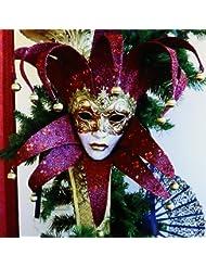 3dRose ct_37256_4 Red and Gold Vintage Mardi Gras Mask Ceramic Tile, 12-Inch