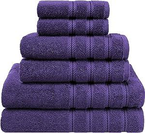 American Soft Linen 6-Piece 100% Turkish Genuine Cotton Premium & Luxury Towel Set for Bathroom & Kitchen, 2 Bath Towels, 2 Hand Towels & 2 Washcloths [Worth $72.95] - Purple