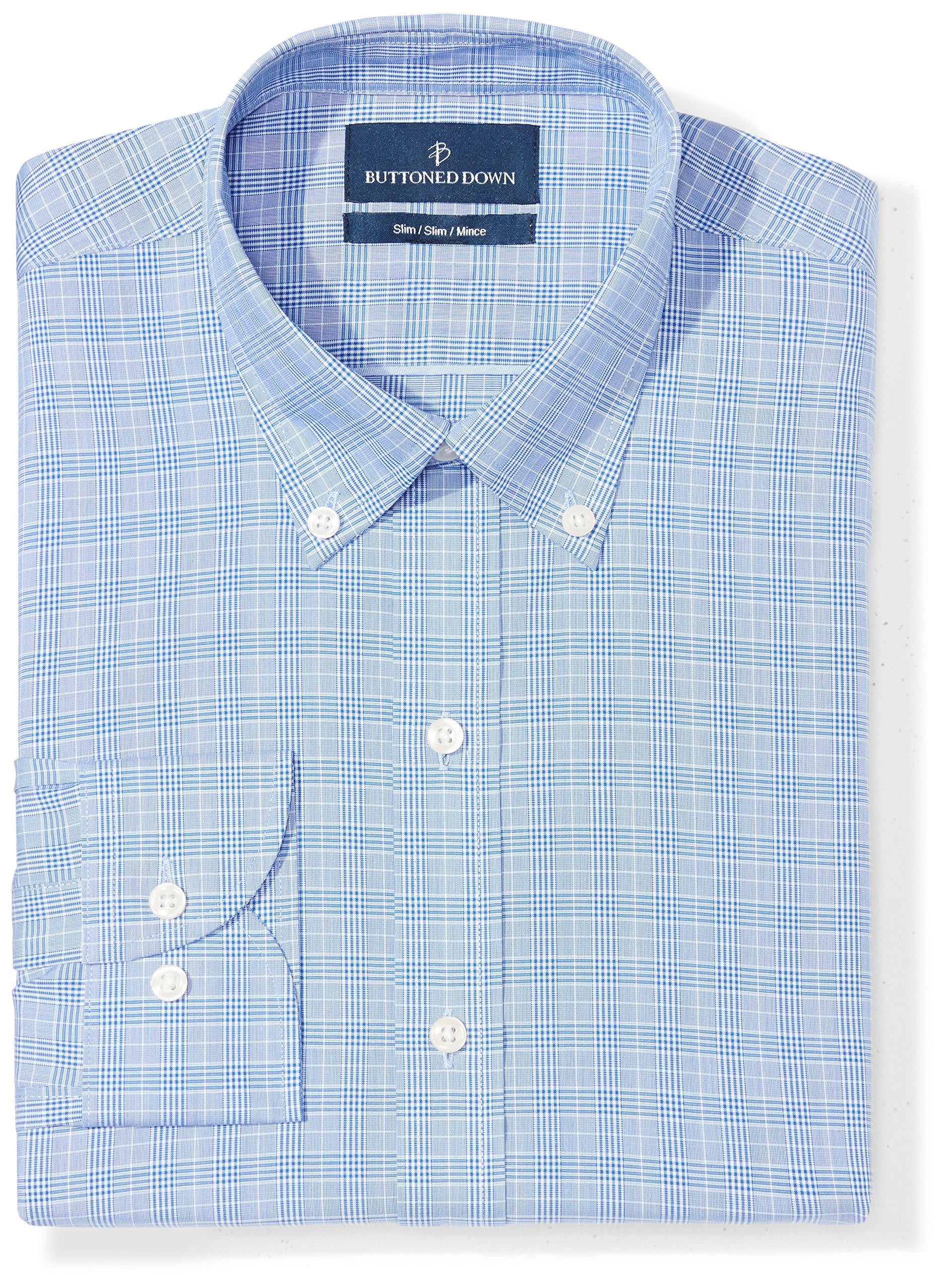 Buttoned Down Men's Slim Fit Button-Collar Pattern Non-Iron Dress Shirt, Blue Glen Plaid, 16'' Neck 36'' Sleeve