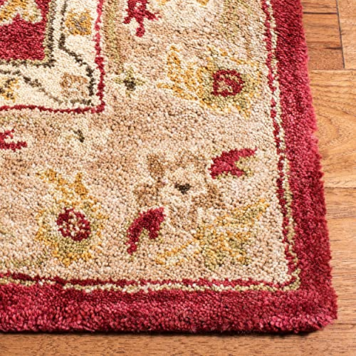 Safavieh Anatolia Collection AN522A Handmade Traditional Oriental Red and Ivory Wool Area Rug 9' x 12'