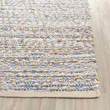 Safavieh Cape Cod Collection CAP351A Hand Woven Flatweave Geometric Diamond  Natural And Blue Jute Area Rug