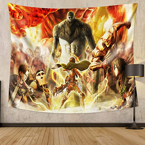 MEWE Attack on Titan Tapestry Wall Hanging Japanese Anime Tapestry for Bedroom 59x70in