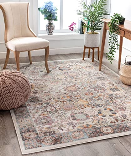 Well Woven Rodeo Grande Ivory Bohemian Floral Botanical Border 7 10 x 9 10 Distressed Area Rug, Beige