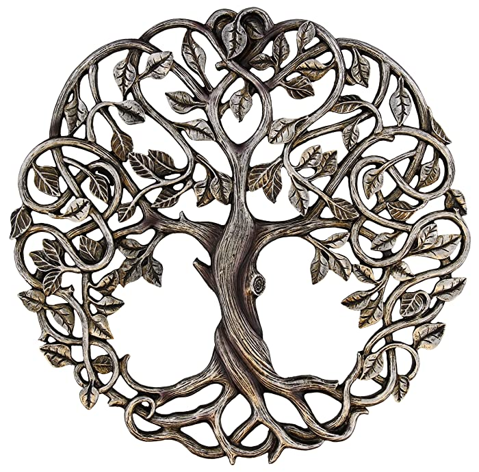 "Old River Outdoors Tree of Life Wall Plaque 11 5/8"" Decorative Celtic Garden Art Sculpture - Antique Silver Finish"