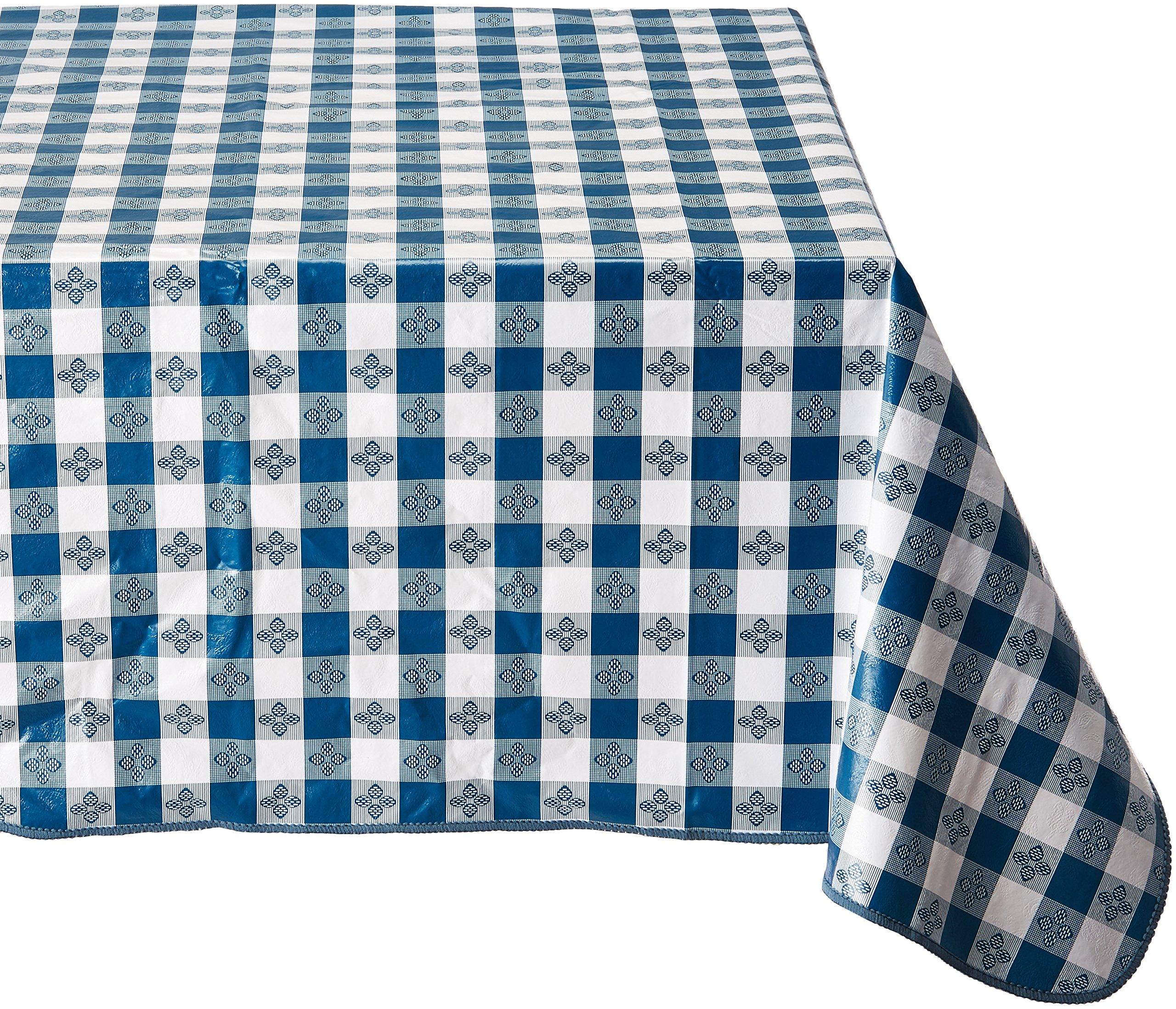 Winco 52-Inch x 90-Inch Checkered Table Cloth, Blue