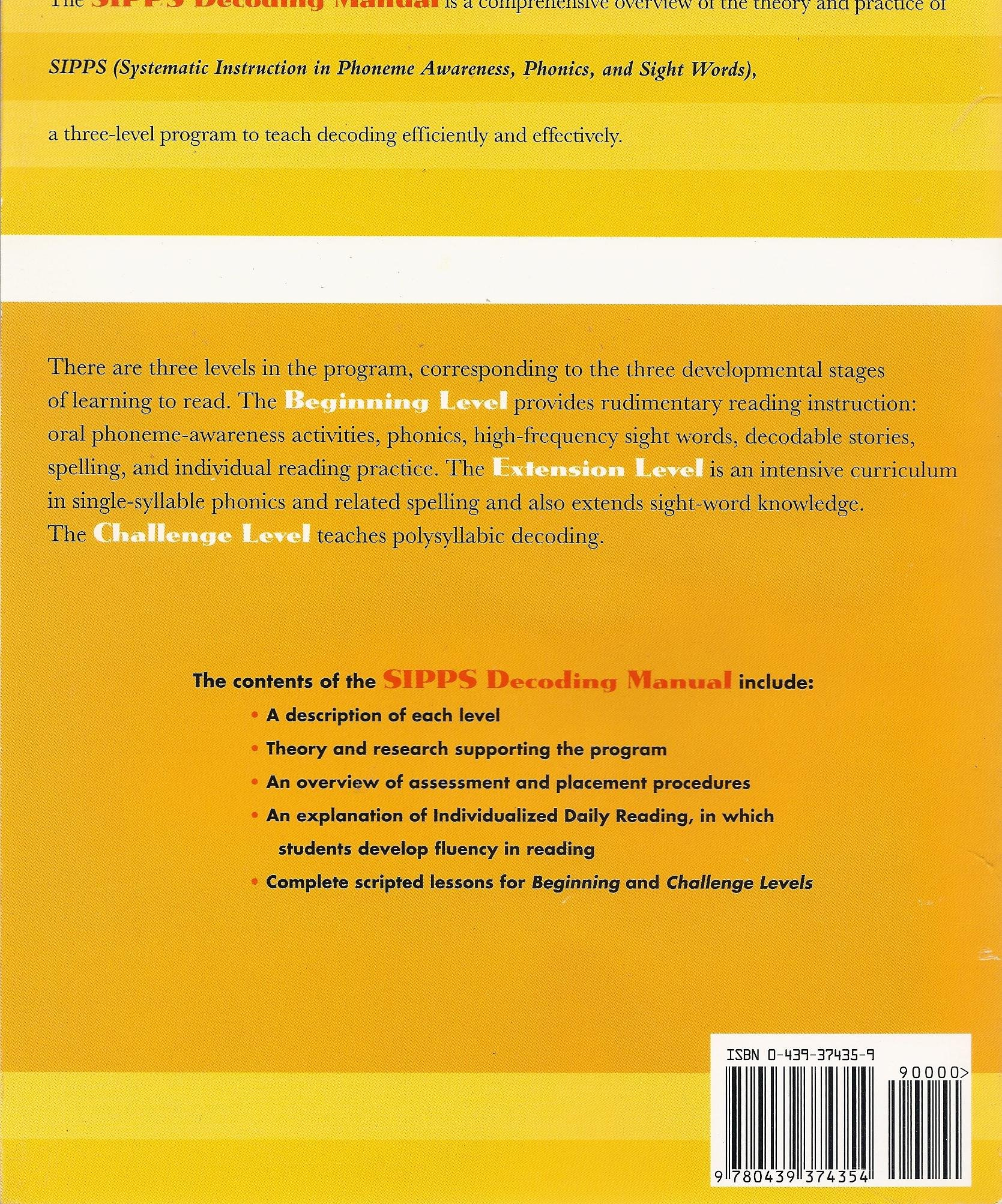 Sipps Systematic Instruction In Phoneme Awareness Phonics And
