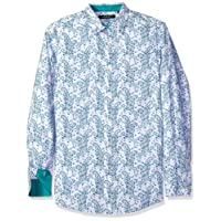 AXIST Mens A1WS1202 Long Sleeve Slim Paisley on Printed Check Woven Long Sleeve Button Down Shirt - Blue