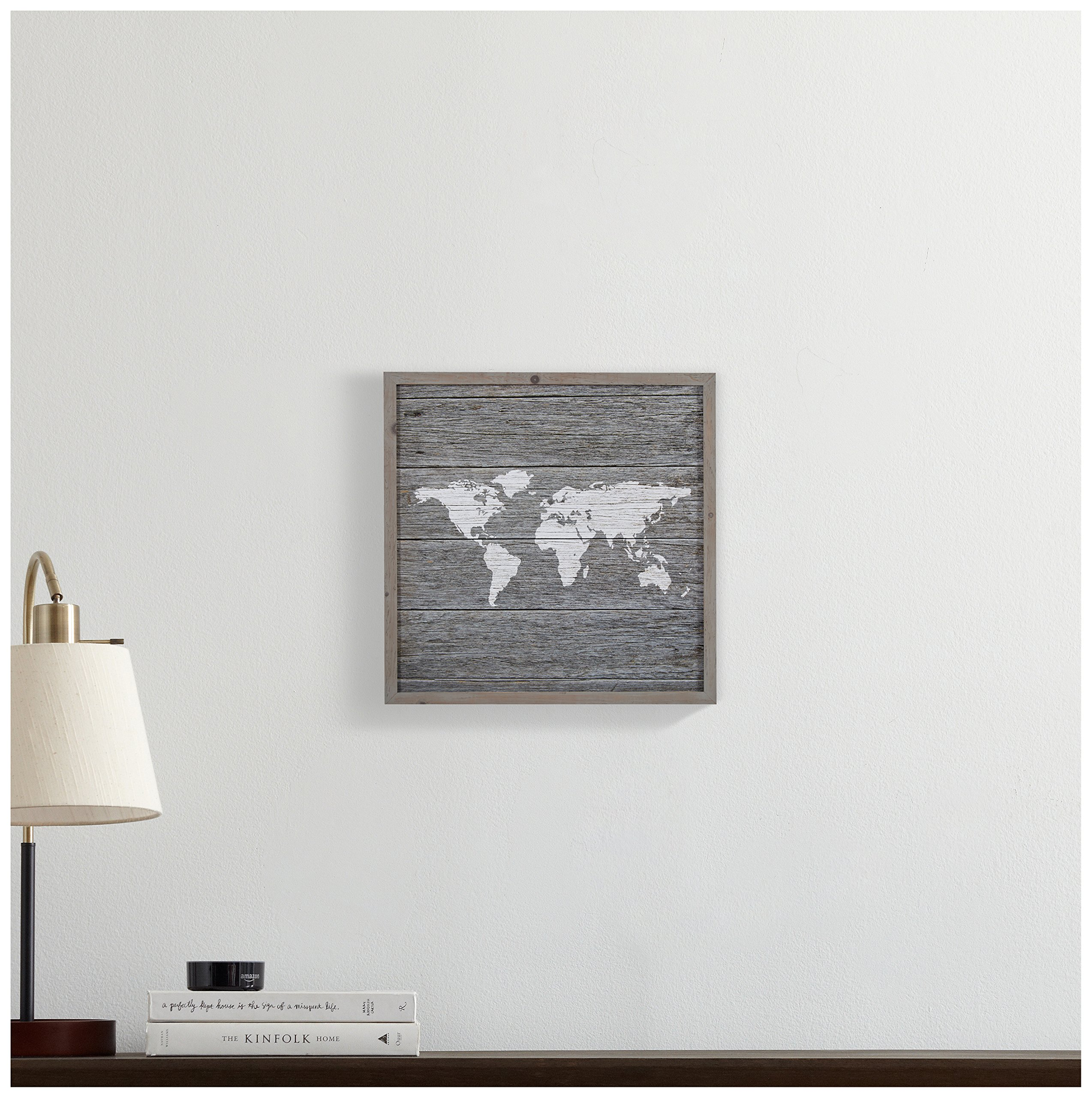 Global Map, Paper on Wood, Grey Wood Frame, 14'' x 14'' by Stone & Beam (Image #3)