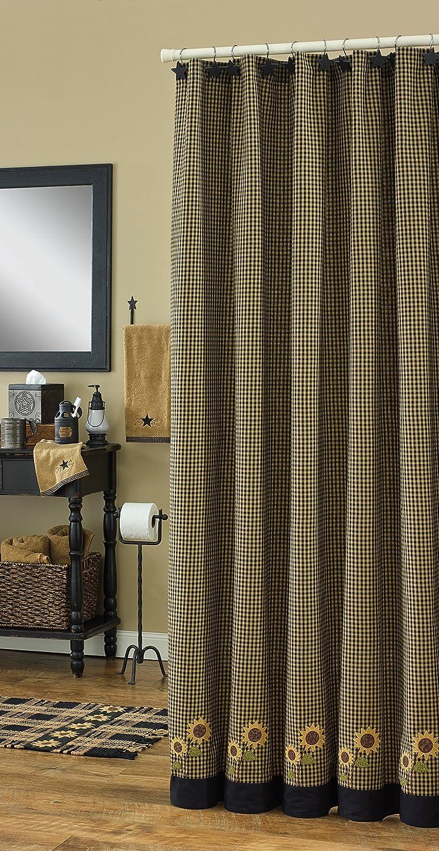 Amazon Park Designs Sunflower Check Shower Curtain 72 By Home Kitchen