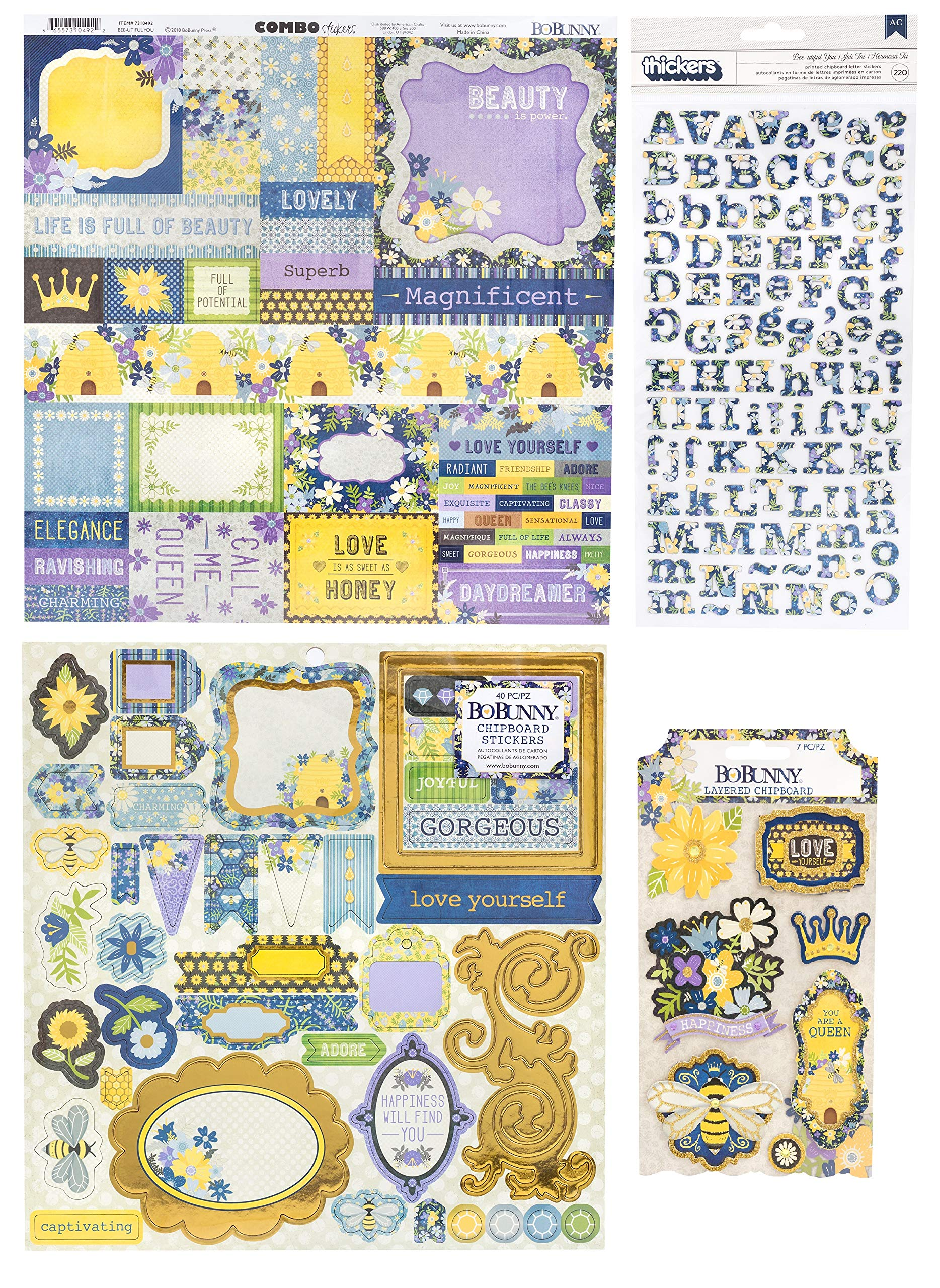 99 Honeybee and Bumblebee Stickers Assortment with 200 Alphabet and Numbers Sticker Pack   for Scrapbooking, Planner, Bullet Journals, Album, Calendars, DIY Crafts