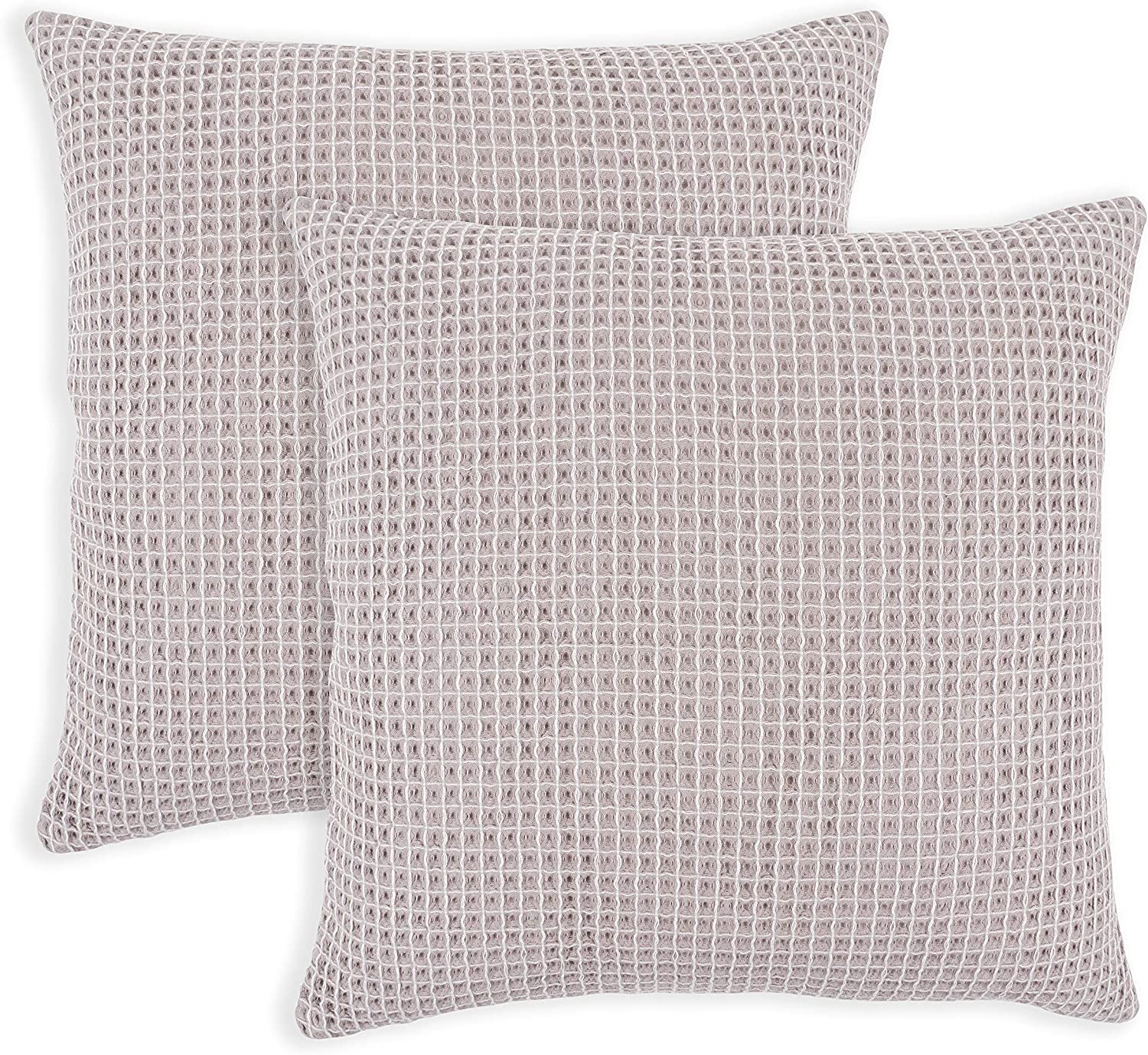 KAF Home Canopy Lane Tonal Waffle Pillow 20 x 20 Inch Covers   100-Percent Cotton   Set of 2 Pillow Covers (Gray)