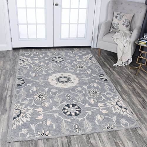 Rizzy Home Resonant Collection Wool Area Rug, 8 x 10 , Gray Taupe Tan Floral