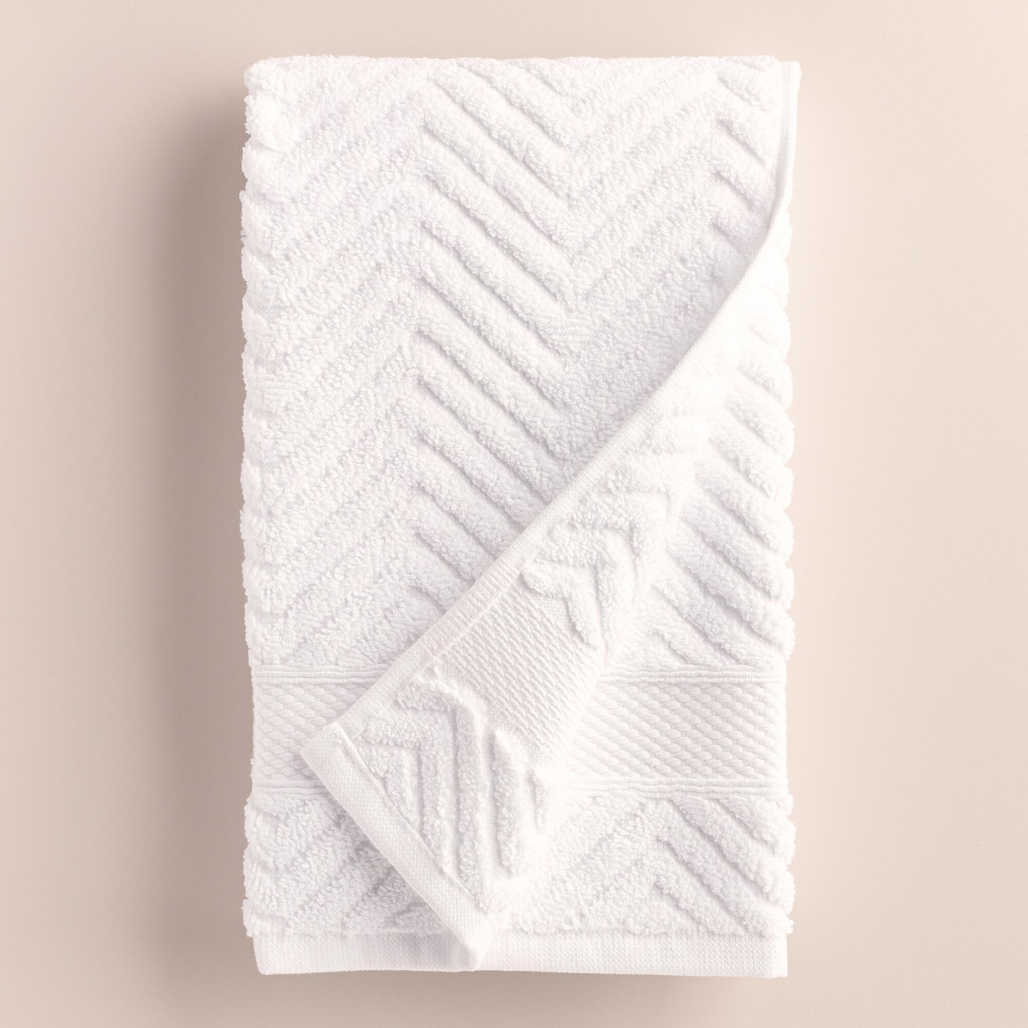 White Chevron Spa Hand Towel | World Market