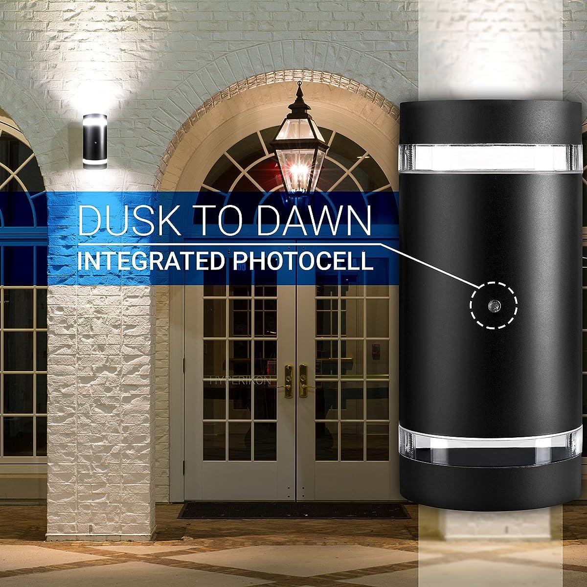 Hyperikon LED Porch Sconce Cylinder Light 12W Black Modern Wall Mount with