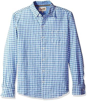 dca588a733c Margaritaville Men s Long Sleeve Gingham Check Shirt at Amazon Men s Clothing  store