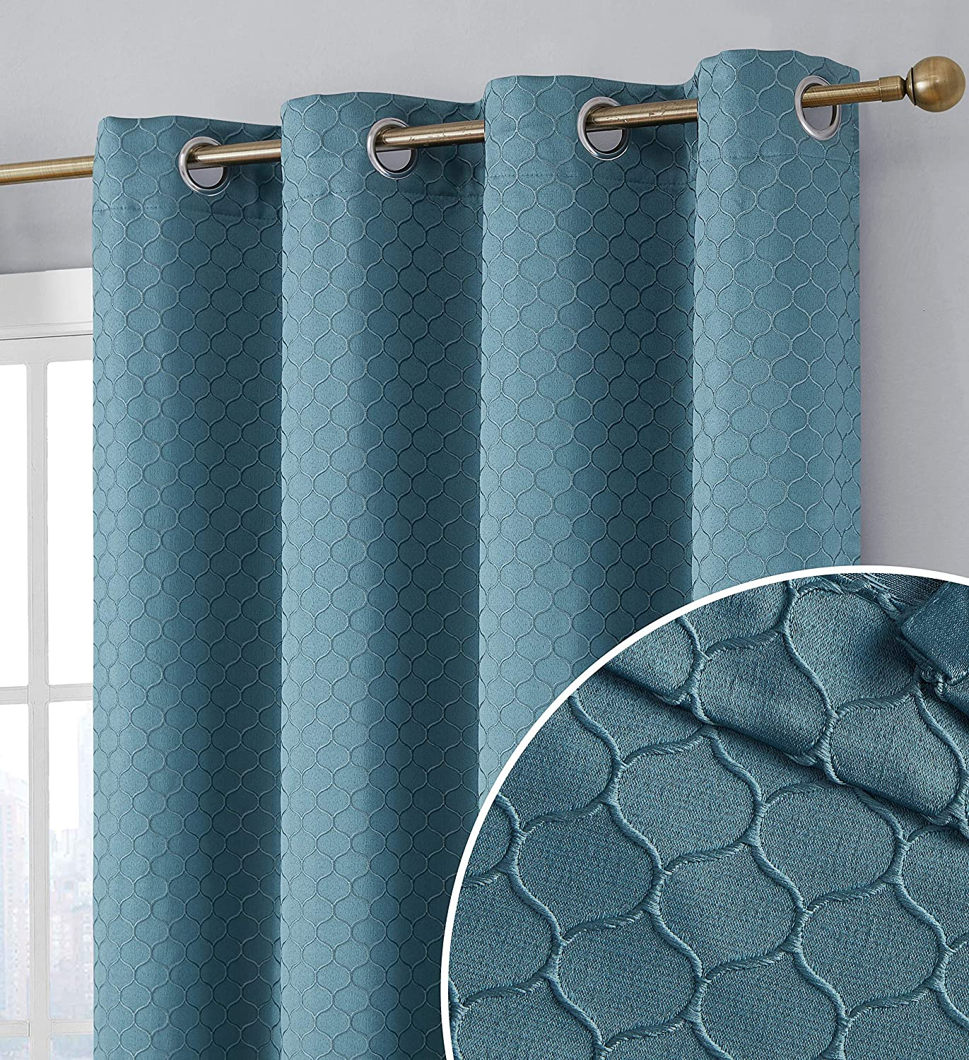 HLC.ME Siena 100% Extreme Blackout Thermal Insulated Decorative Pattern Window Curtain Grommet Panels for Living Room & Bedroom - Energy Savings & Soundproof, Set of 2 (50 x 63 inch Length, Teal Blue)