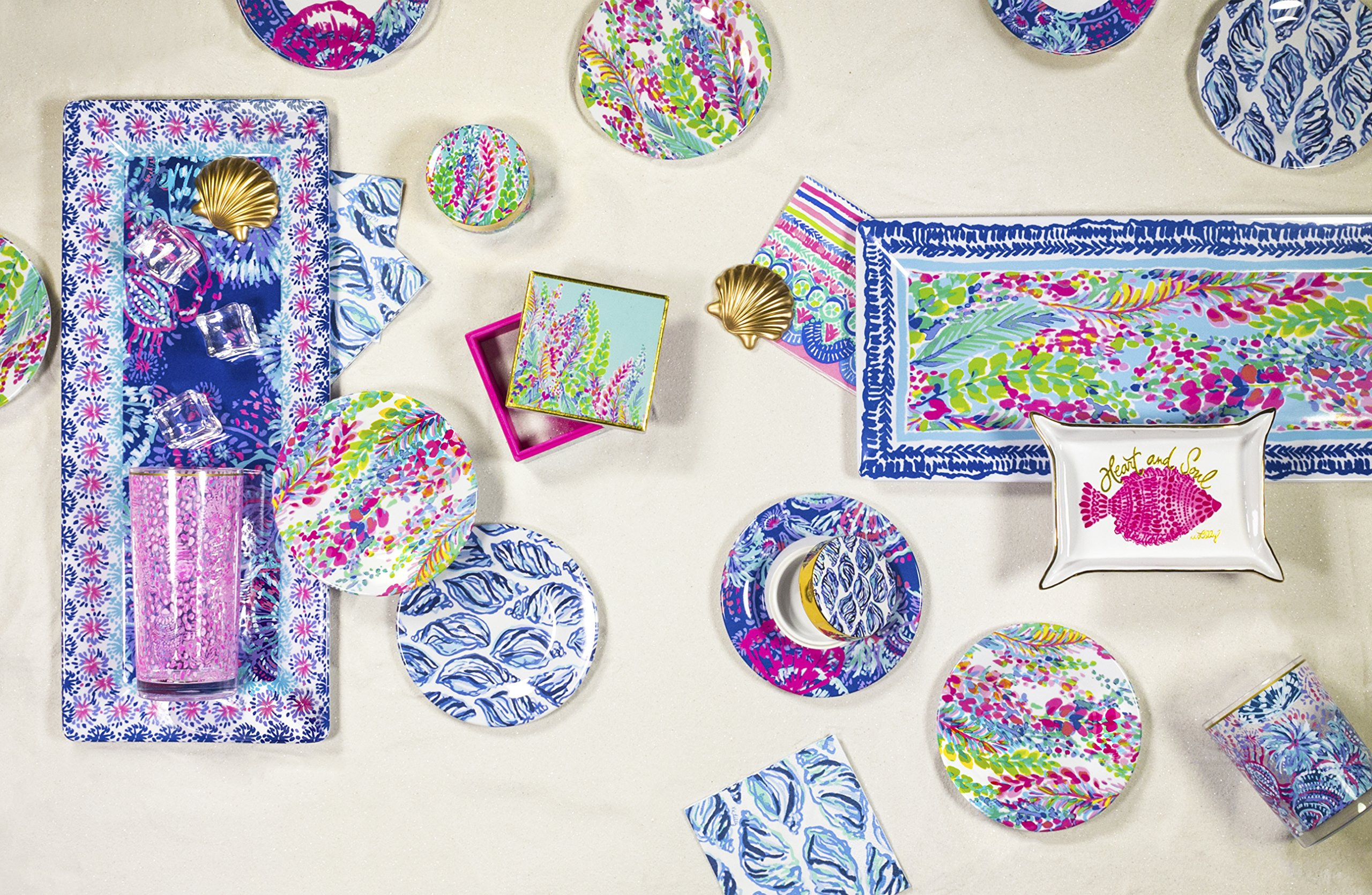 Lilly Pulitzer Patio Serving Set with Platter, Acrylic Lo Ball Glasses, Appetizer Plates