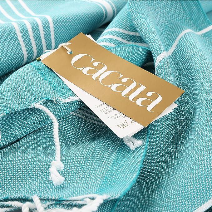 algod/ón Conjunto de Toalla para ba/ño Turco y Bolsa Peshtemal 100 x 180 x 0.5 cm Cacala Azul Celeste