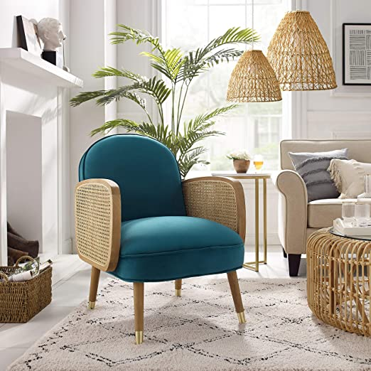 Amazon Com Art Leon Mid Century Modern Retro Blue Velvet Upholstered Oak Woven Arm Accent Chair With Oak Wood Legs Living Room Chair Kitchen Dining,What Is The Best Color For A Metal Roof