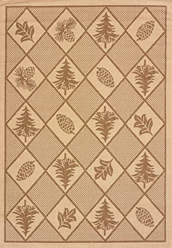 United Weavers of America Solarium Woven Pine Outdoor Area Rug, 7-Foot 10-Inch by 10-Foot 6-Inch, Brown