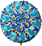 Ivenf Blue Floral Antique Flower Round Vintage Compact Metal Purse Mirror, Wedding / Thanksgiving / Christmas Gift