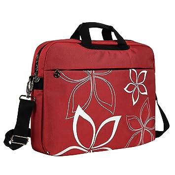 02079a86c4 17 Inch Red Flowers Floral Design Laptop Computer Carrying Case Messenger  Shoulder Bag Briefcase