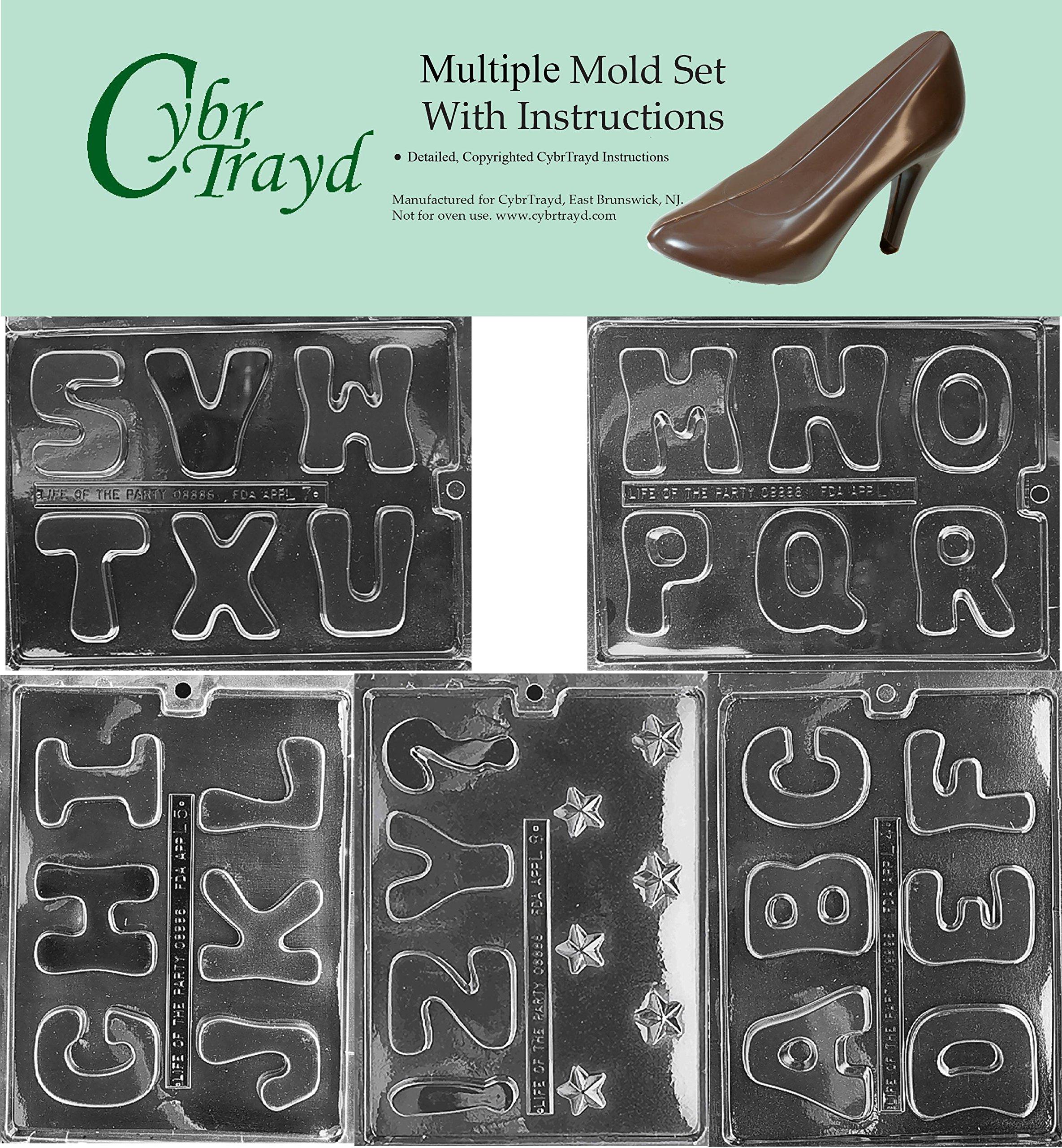 Cybrtrayd BUN-L004L005L006L007L008 5-Piece Full Alphabet Chocolate Molds