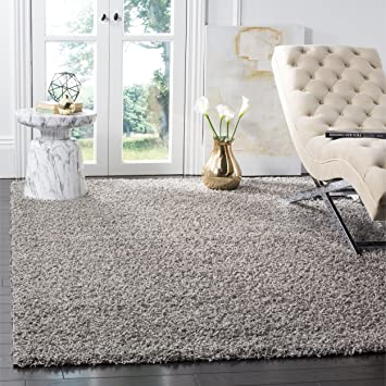 safavieh athens shag collection sga119f light grey area rug 4 feet by 6 feet