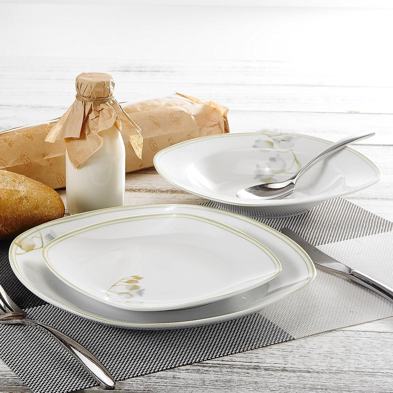 Veweet EMILY 18pcs Assiettes Pocelaine Service de Table 6pcs Assiettes  Plates 24,7cm, 6pcs Assiette Creuse ... 182af9b17b38