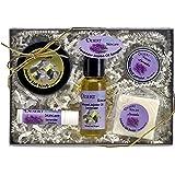 All Natural Mild Lavender Jojoba Skin Care Sampler Pack, 5 items. Lavender Lip Balm, Lavender Hand Salve, Unscented Salt Scrub, Lavender Soap, Lavender infused Jojoba Oil, cold pressed not deoderized;
