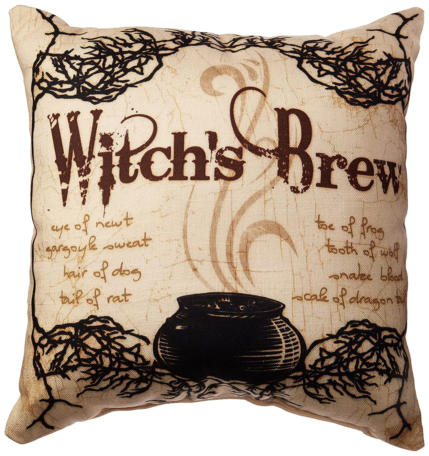 Black//White 14 by 20-Inch One Bella Casa Trick Or Treat Tattoo Letters Halloween Throw Pillow