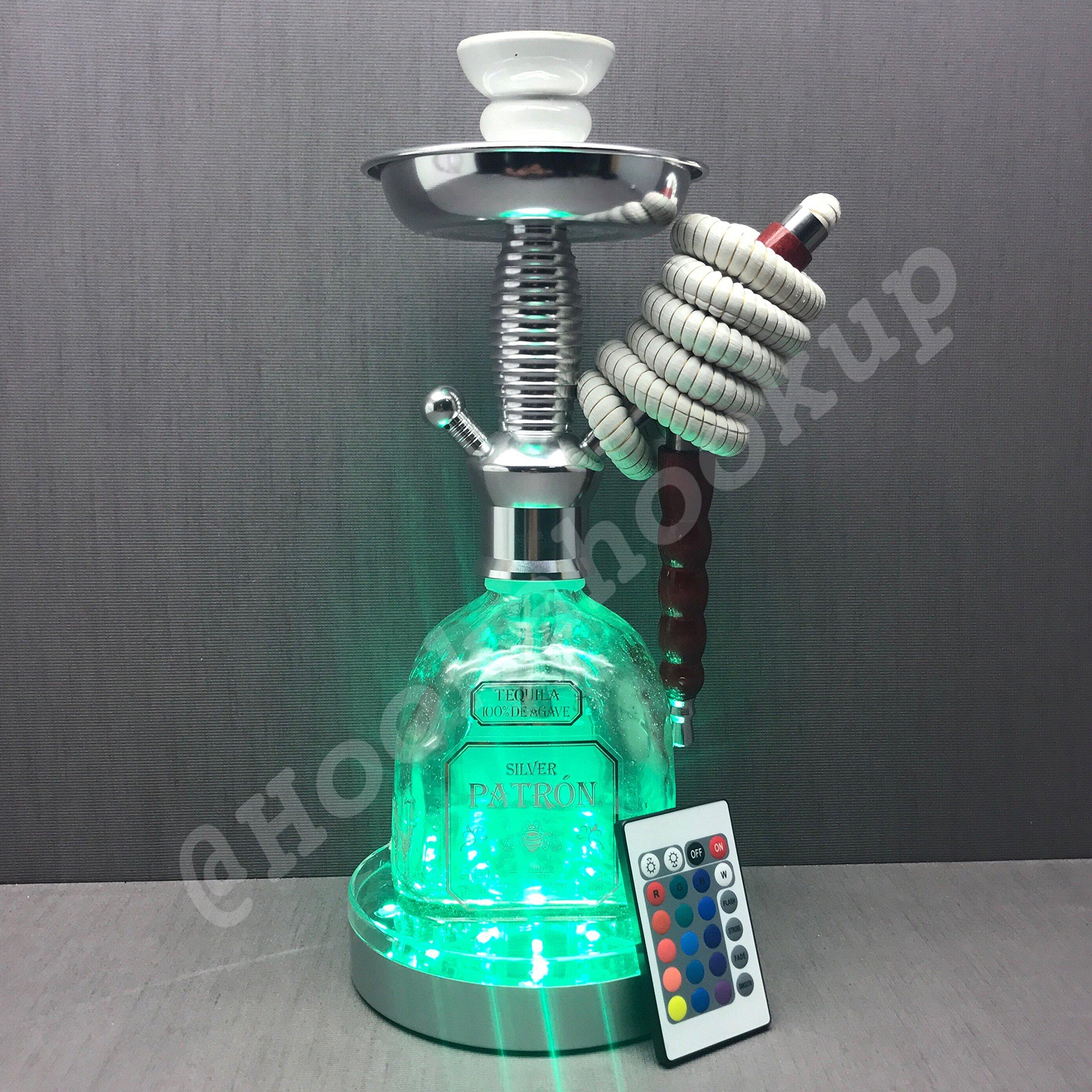 Patron Silver .750L BottleHookah with LED Stand Pumpkin Hookah size
