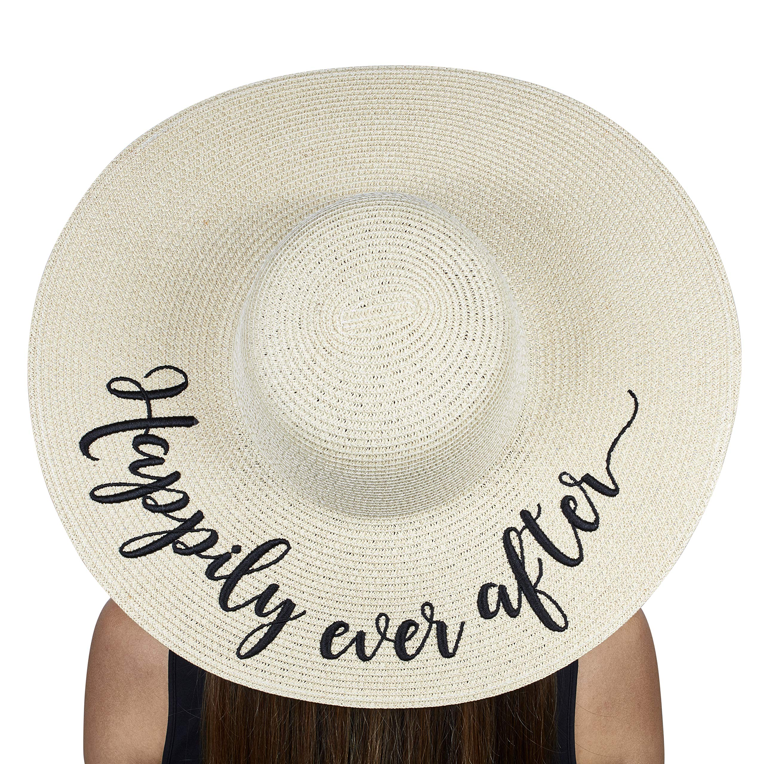 The Chic Soul Beach Floppy Hat for Bridal Shower Gift Bachelorette Party (Happily Ever After)