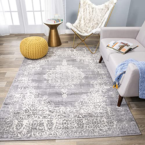 Rugshop Vintage Distressed Traditional Design Area Rug 7'10″ x 10' Gray