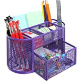 MyGift Space Saving Purple Metal Wire 8 Compartment Office / School Supply Desktop Organizer Caddy w/ Drawer