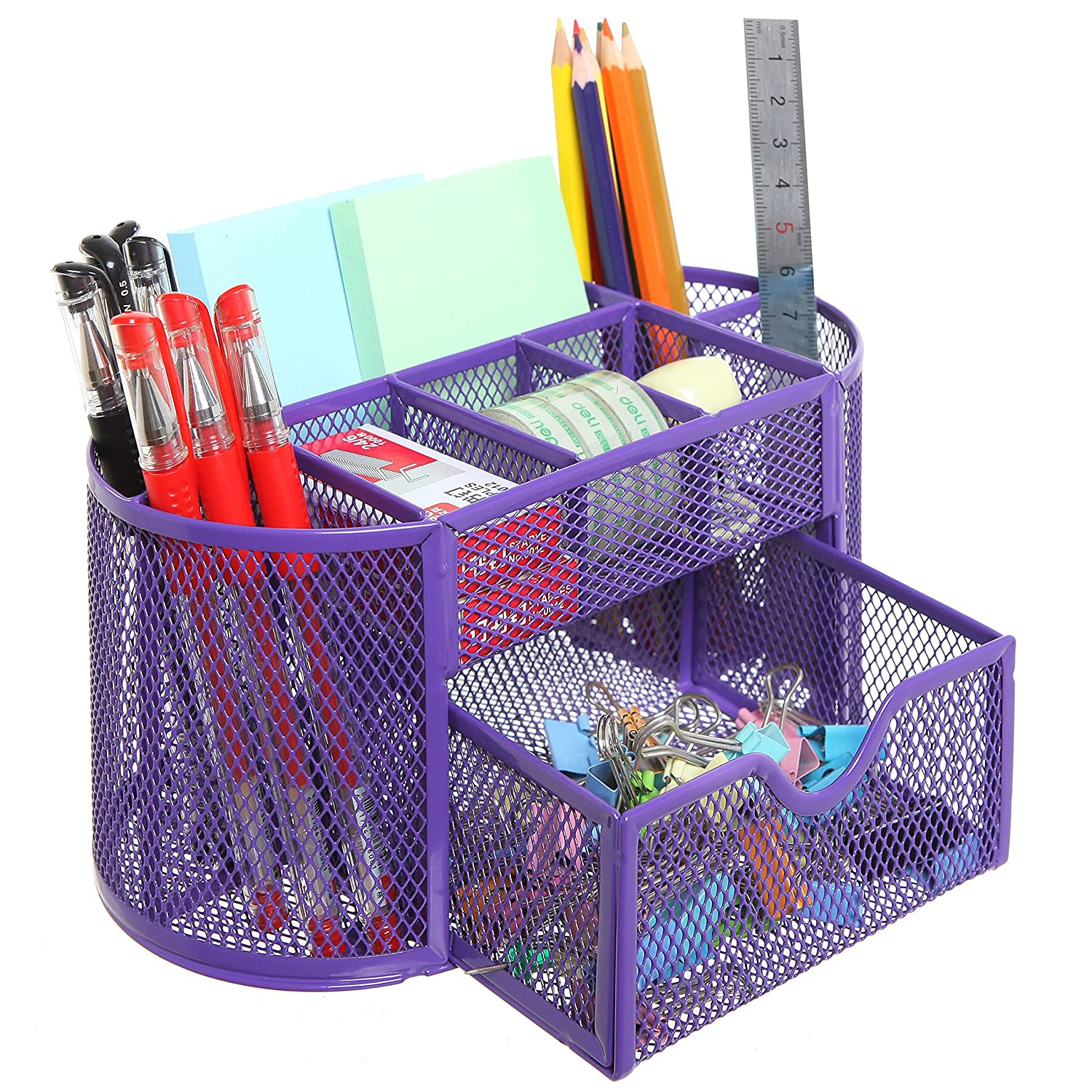 MyGift Space Saving Purple Metal Wire 8 Compartment Office/School Supply Desktop Organizer Caddy w/Drawer
