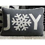 """Chicos Home Throw Pillow Cover Decorative Christmas Pillow Case with Zipper Christmas Cushion Cover with Joy Embroidered Text (12x 18"""", Grey)"""