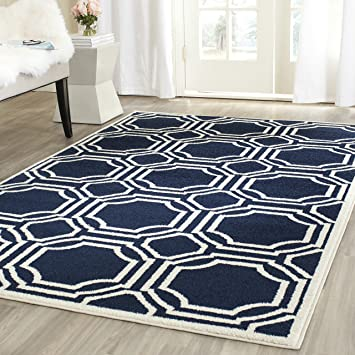 safavieh amherst collection amt411p navy and ivory indoor outdoor area rug 8u0027 x