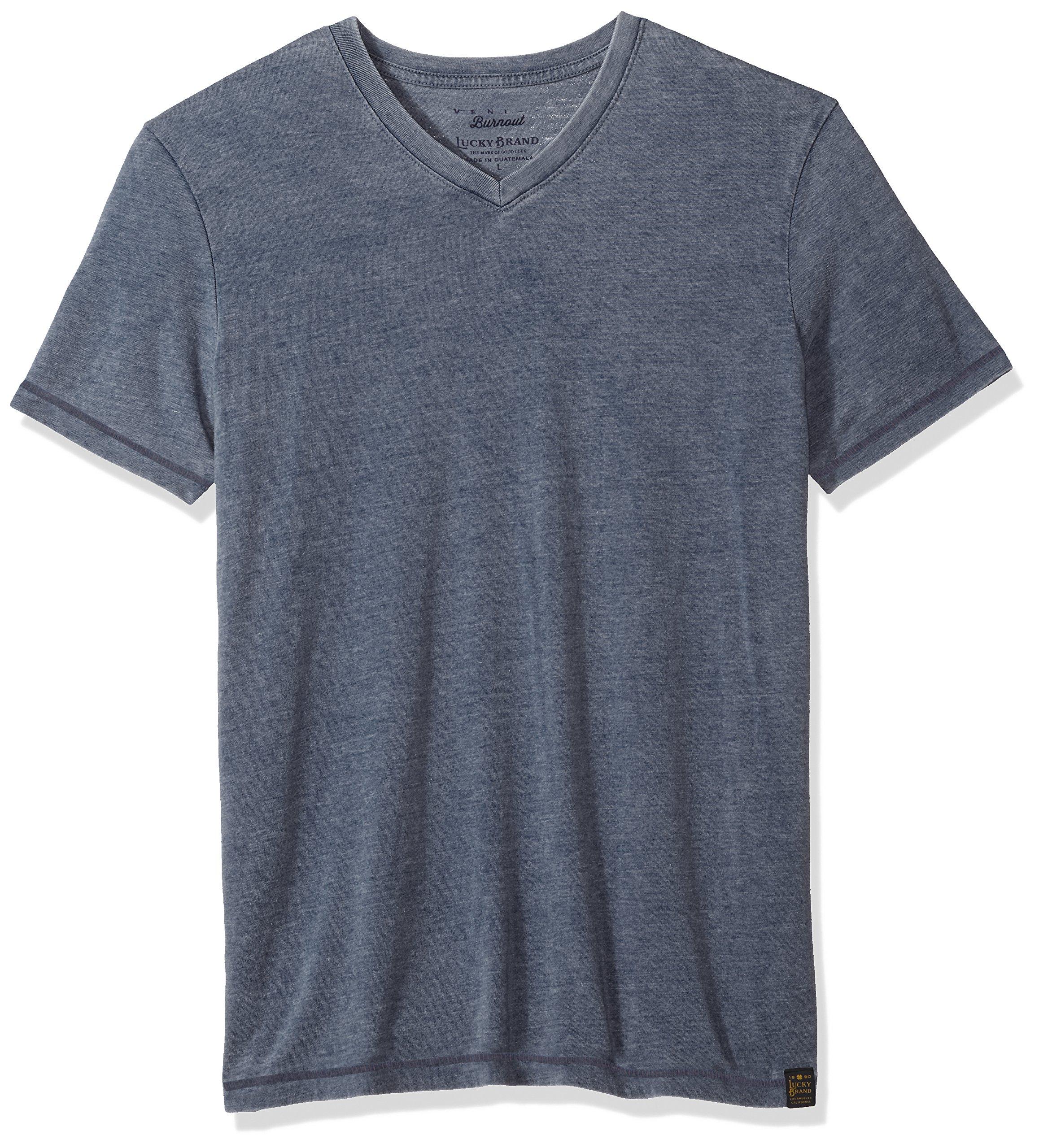 Lucky Brand Men's Venice Burnout V-Neck Tee Shirt, American Navy, L