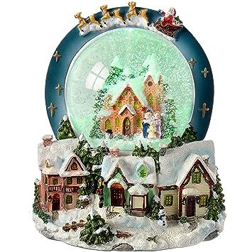 WeRChristmas Beleuchtete Weihnachtsdekoration Weihnachtliche Szene mit Schneekugel und Musik 30/cm