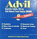Advil Pain Reliever, Individual Sealed 2 Tablets in a Packet (Box of 50 Packets) Total 100 Tablets. (200 mg each tablet)