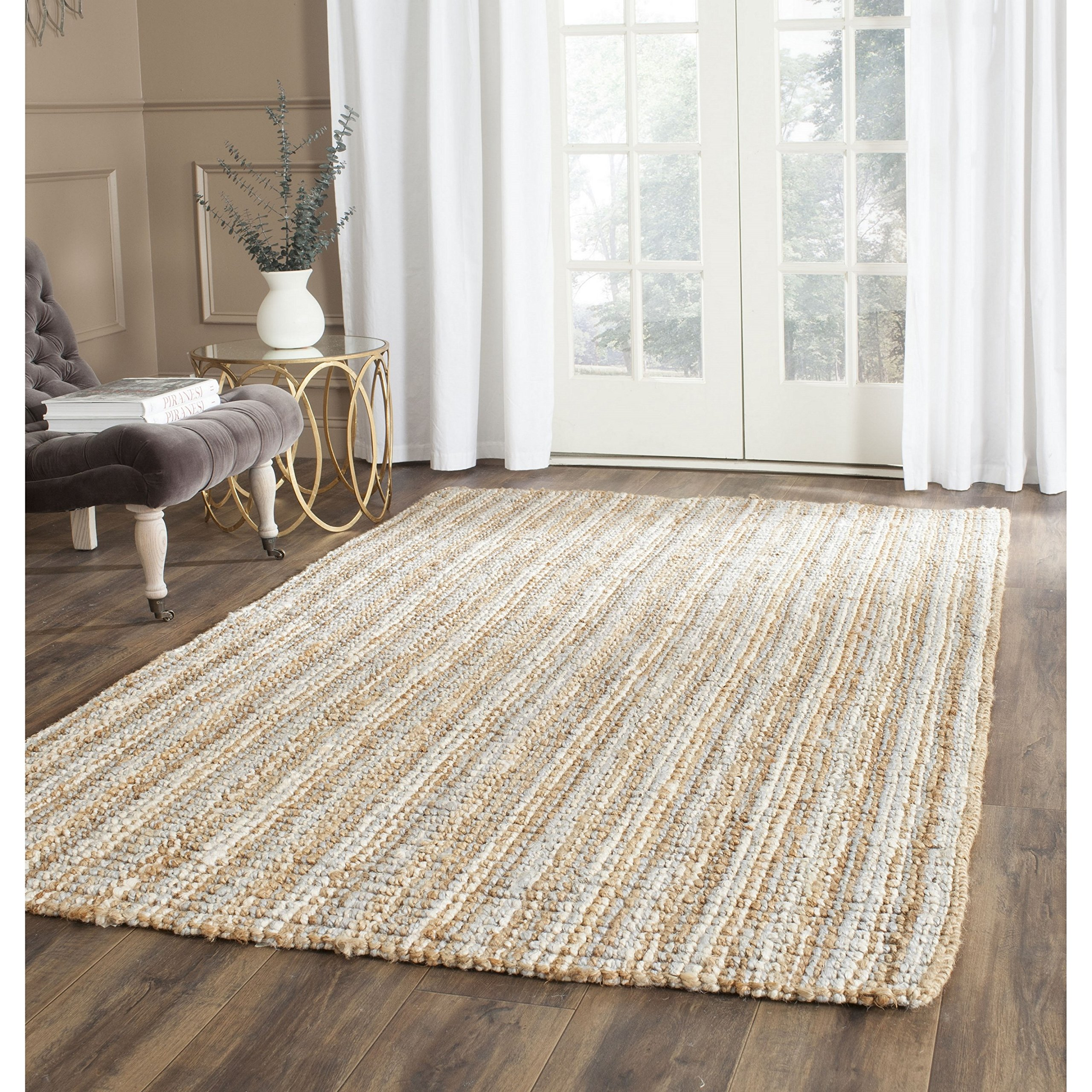 Safavieh Natural Fiber Collection NF447K Hand Woven Grey and Natural Jute Square Area Rug (8' Square)