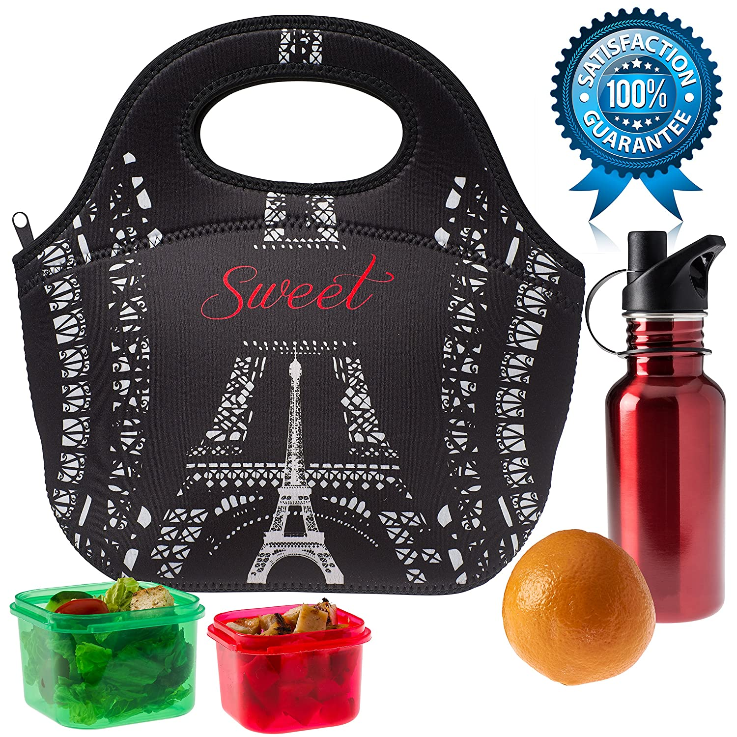 SWEET CONCEPTS Insulated Reusable Neoprene Lunch Bag - Black