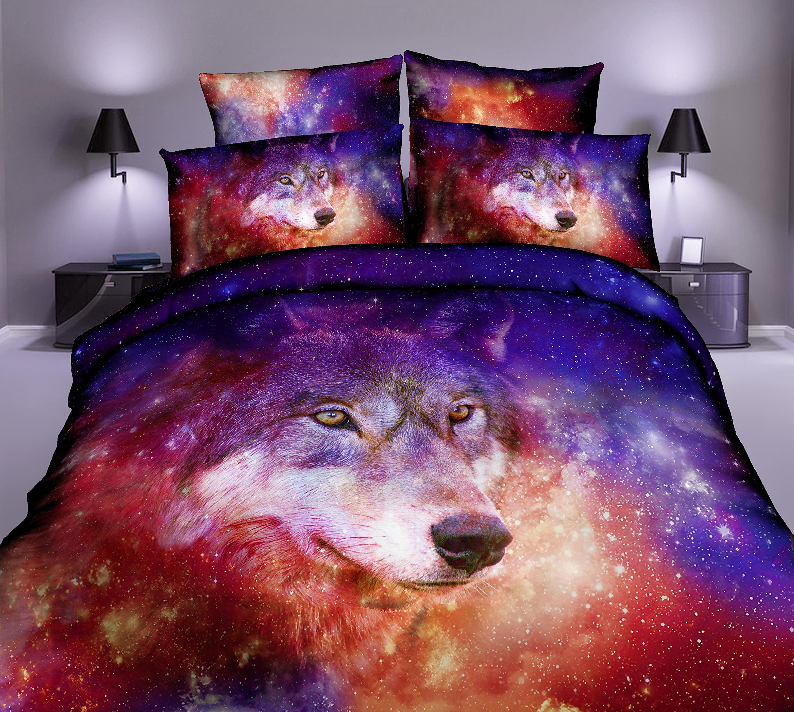 Cliab Wolf Bedding Sets Queen for Girls Boys Bed Sheets Duvet Cover Set 7 Pieces(Fitted Sheet Included)